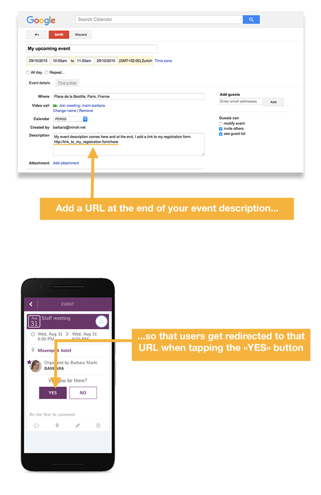 Add the URL of your registration page at the end of your event description