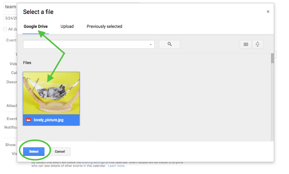 select attachment from Google Drive