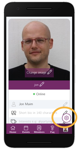 Access your app settings by tapping on the bottom-right button from your profile page